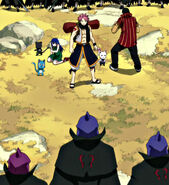 Natsu and co surrounded by GH members