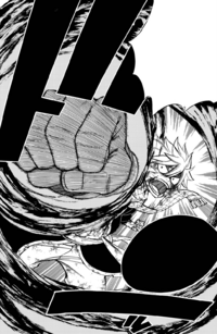 Natsu charges at Zeref with Demolition Fist