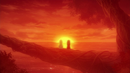 Young Zera and Mavis watch the sunset
