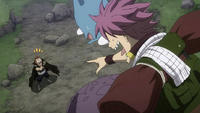 Natsu and Happy encounter Gildarts