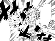 Natsu and Happy getting ready to celebrate