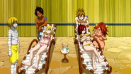 Lucy and Erza annoyed by Trimens
