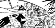 Natsu Dodging Kama's Attack