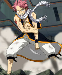 Natsu after Gajeel's breath attack