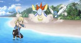 Happy observa a Lucy intentar invocar a Aquario