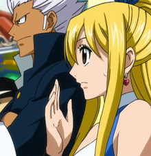 Elfman watching Natsu's fight with Erza