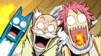 Natsu, Happy, and Makarov are suprised