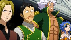 Miembros de Fairy Tail viendo la batalla de Gray