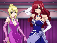 Lucy and Erza dress up for the job
