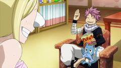 Natsu y Happy en el Apartamento de Lucy