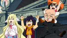 Miembros de Fairy Tail Festejan la Victoria de Erza