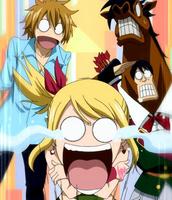 Sagitario y Hibiki observan los pechos de Lucy