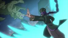 Yuka luchando contra los monstruos