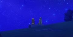 Lucy y Aquario Viendo las Estrellas