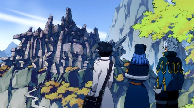 File:Gray, Lyon and Juvia reached the ruins.png