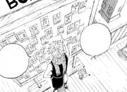 Natsu und Happy vor dem Request Board