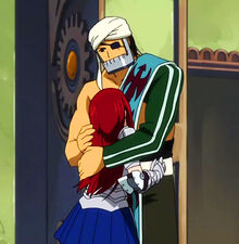 Simon and Erza hug