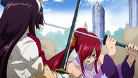 Erza blocks Kagura's attack
