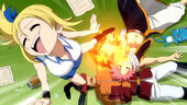 Lucy punched by a Sleeping Natsu