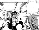 Erza ordenando a Natsu y Gray