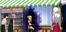 Natsu y Gray asustados de Lucy