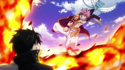 Happy detiene el ataque de Natsu