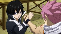 Natsu y Zeref se enfrentan en el gremio