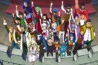 Fairy Tail apoyando a Natsu durante la batalla contra los dragones gemelos