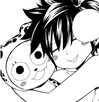 Gray cuddles Frosch