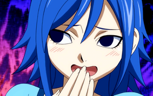 Juvia when she add spicy soup to the Lucy's tea