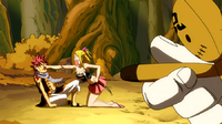 Kain forces Lucy to punch Natsu