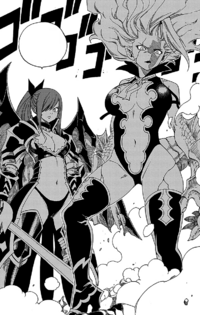 Erza and Mirajane defend the chairman