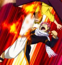 Natsu attacks Sabertooth