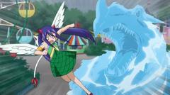 Wendy y Charle perseguidas por el dragón de Aquario