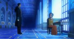 Levy y Gajeel hablando en Mercurius