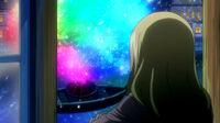 Lucy looking at Rainbow Sakura