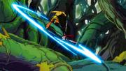 Azuma luchando con erza