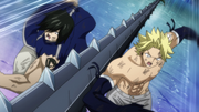 Sting, Rogue and Gajeel attack Acnologia