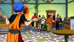 Vijeeter informa a Fairy Tail sobre la Catedral Kardia