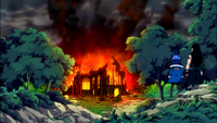 Gajeel and Juvia arrive at a destroyed church