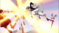 Natsu intenta forzar la puerta del desierto