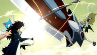 Gajeel and Panther Lily clash