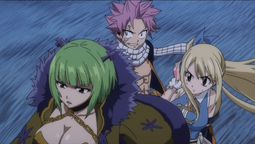 Lucy, Natsu y Brandish ven a August