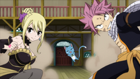 Lucy, Happy and Natsu team up against Jacob