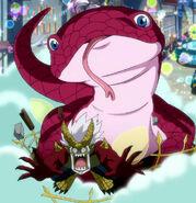 Mirajane as a gecko and Elfman on Fantasia Parade