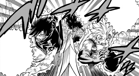 Sting and Rogue follow Gajeel's attack