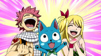 Natsu, Lucy and Happy's happiness about Erza's recovery