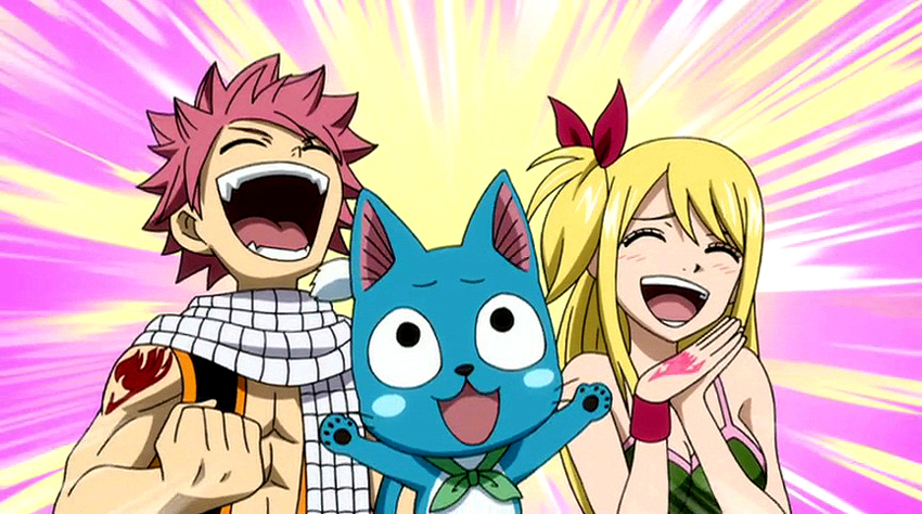 Image natsu lucy and happy 39 s happiness about erza 39 s fairy tail wiki fandom - Fairy tail lucy et natsu ...