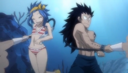 Gajeel and Levy Feeding the Fishes