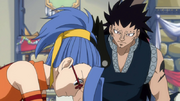 Gajeel Watching Levy Work